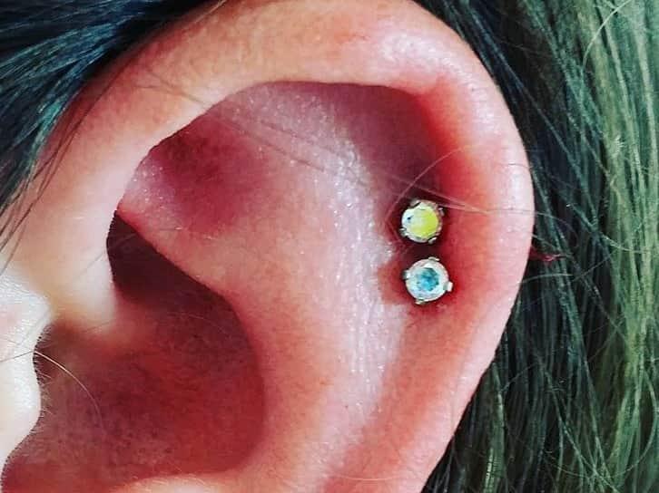 cute double helix piercing