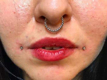 dahlia and septum piercing