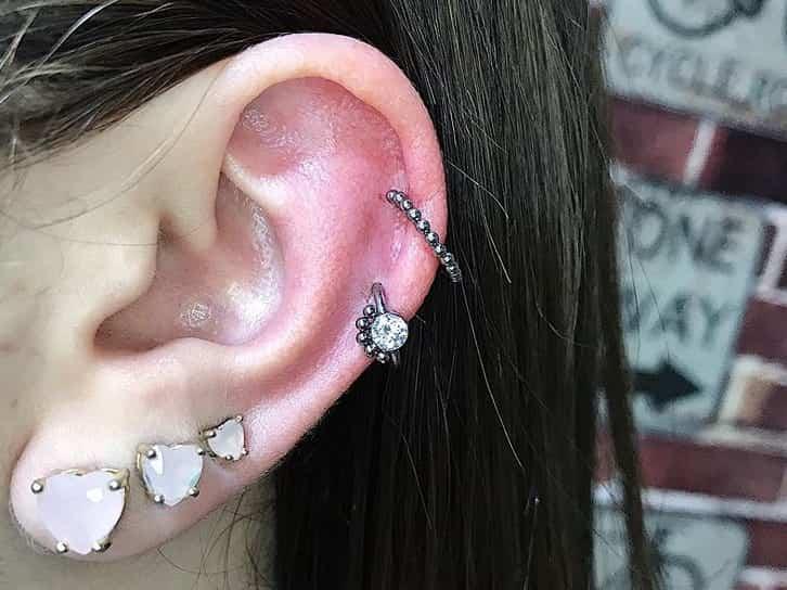 double ear helix piercing