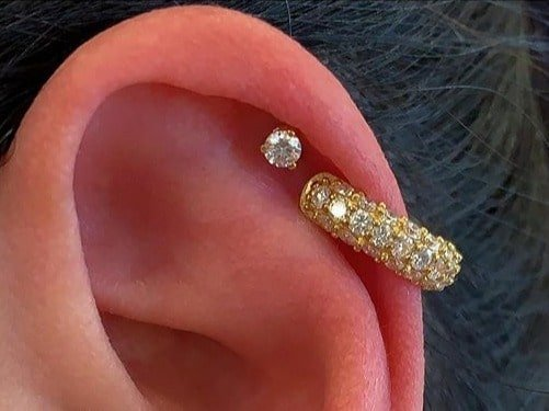 double helix piercing gold jewelry