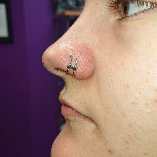 double hoop nostril piercing