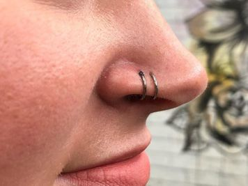 double nose piercing ring