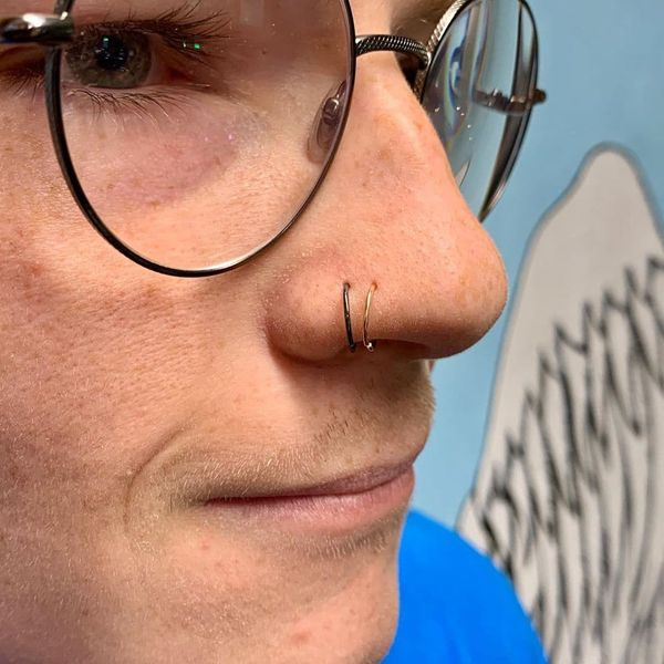 double nose ring for single piercing