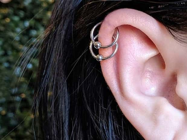 double ring helix piercing
