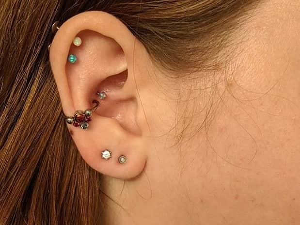 female double helix piercing