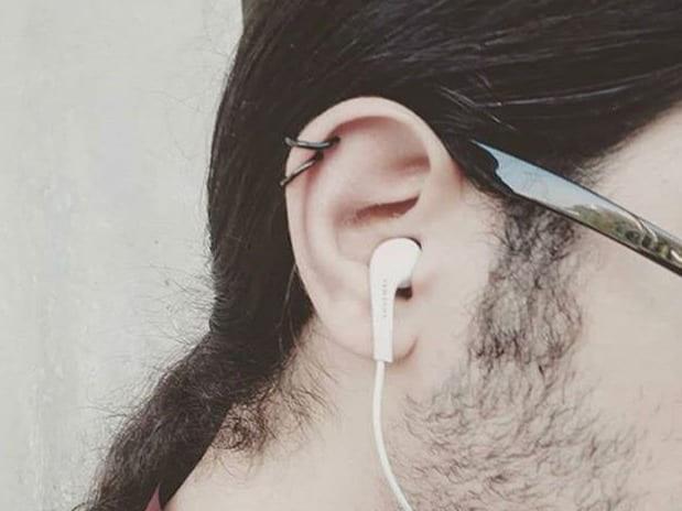 men double helix piercing
