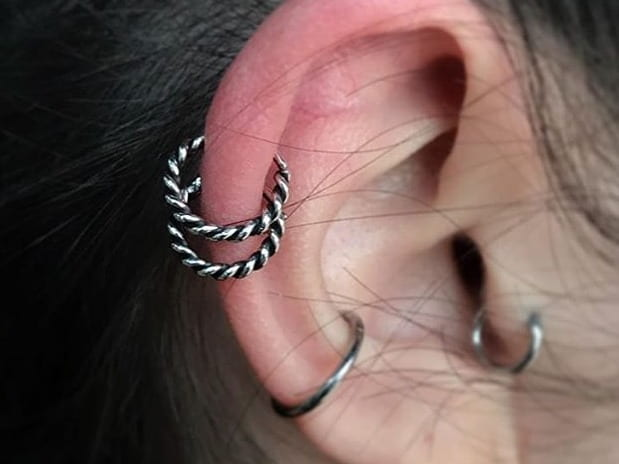 rings double helix piercing