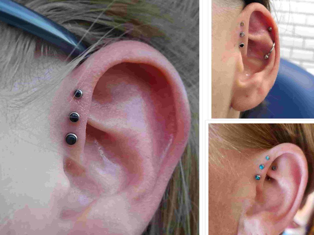 triple forward helix piercing healing